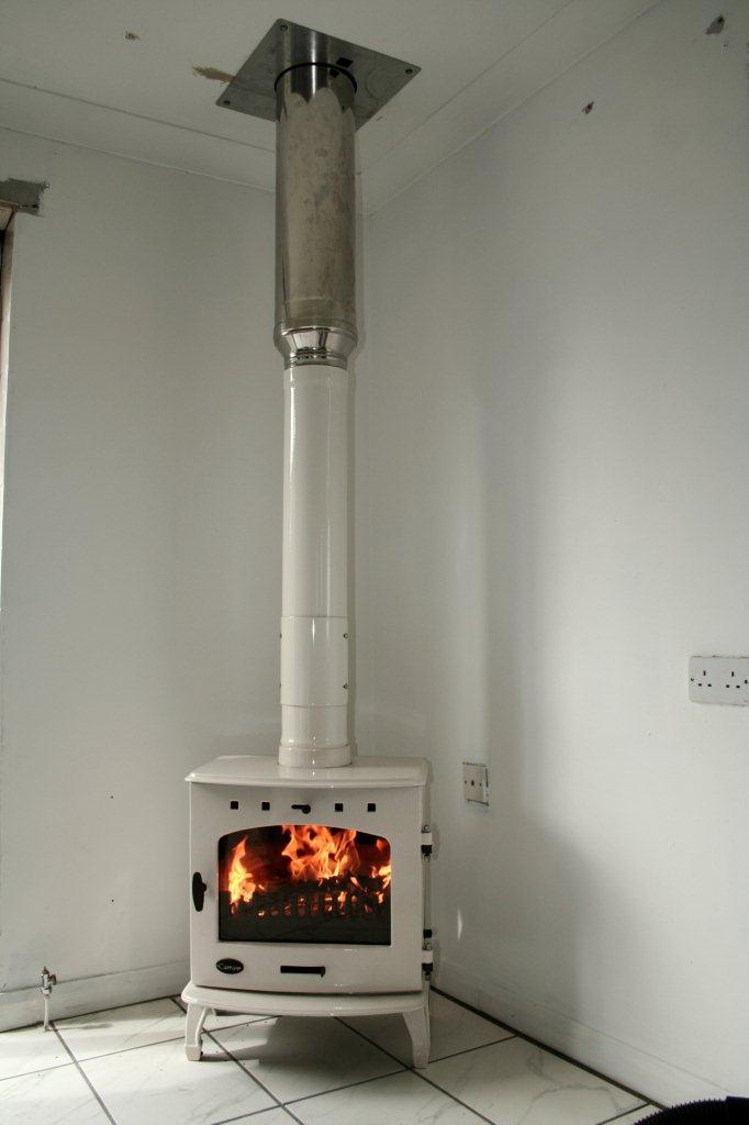 carron 7 8kw multi fuel wood burning stove installation on