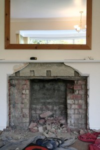 Wood burner installation in progress